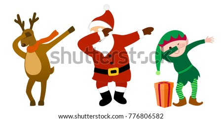 Funny Cartoon Characters, Santa Clause, Reindeer, Christmas Elf, Making Dab  Move,