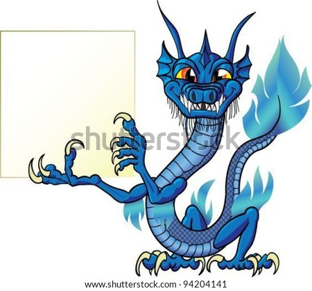 Funny cartoon chinese water dragon with sign, isolate - stock vector