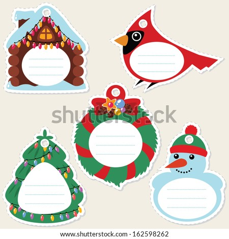 Funny cartoon christmas gift tags. Some blank space for your text included. - stock vector
