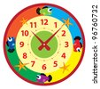 funny cartoon clock for kids - stock vector
