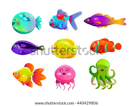 Funny cartoon colorful tropic fishes set, vector aquarium citizens icons, underwater collection, isolated on white background - stock vector