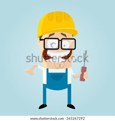 funny cartoon construction worker - stock vector