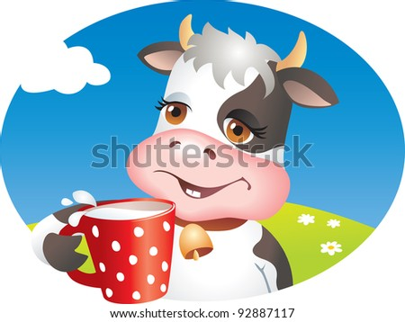 Funny cartoon cow drinking cup of milk. Lawn, flowers and sky. Vector illustration - stock vector