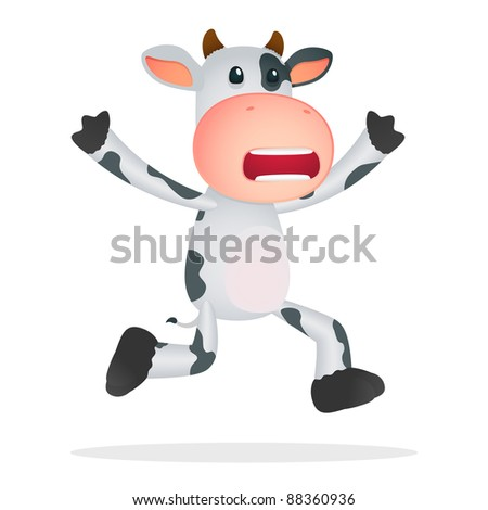 funny cartoon cow in various poses - stock vector