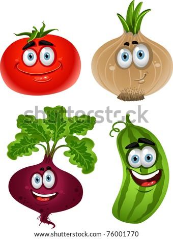 Funny cartoon cute vegetables - tomato, beet, cucumber, onion - stock vector