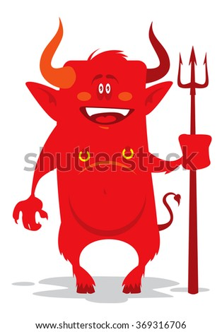 funny cartoon devil with a trident - stock vector