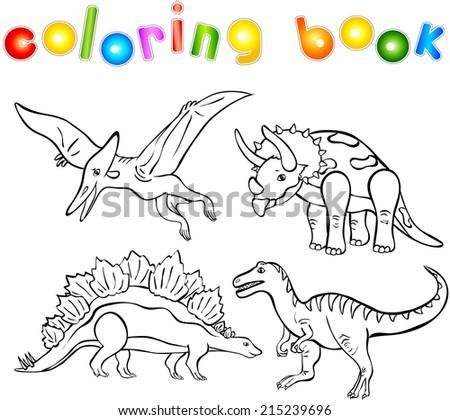Funny cartoon dinosaurs. Second set. Coloring book - stock vector