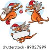 Funny cartoon dragon - stock vector