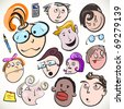 Funny cartoon faces, vector doodle people caricature. Vector collection of office characters with different emotions and facial expressions. - stock photo