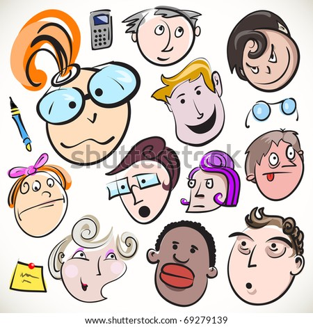 Funny cartoon faces, vector doodle people caricature. Vector collection of office characters with different emotions and facial expressions.