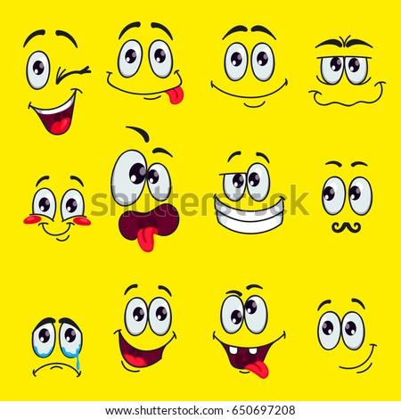 funny cartoon faces emotions vector clip stock vector