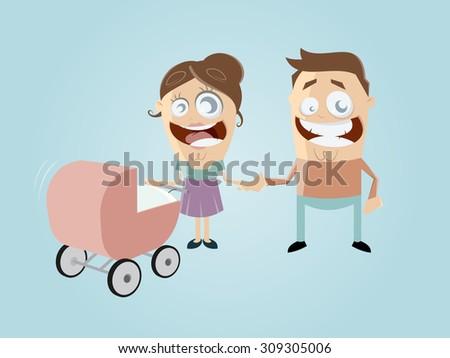 funny cartoon family - stock vector