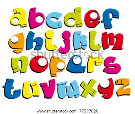 funny cartoon / graffiti font - stock vector