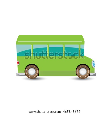 funny cartoon green school bus isolated on white