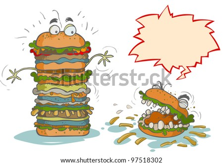 Funny Cartoon Hamburgers. - stock vector