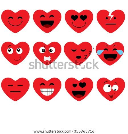 Funny cartoon heart character emotions set, vector icon - stock vector