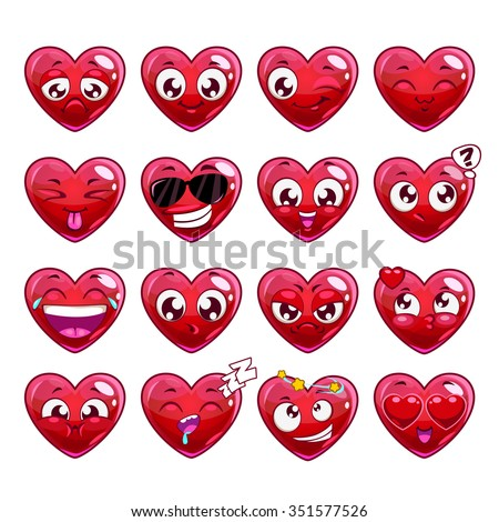 Funny cartoon heart character emotions set, vector icons, isolated on white - stock vector