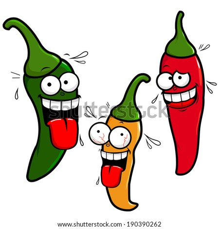 Funny cartoon hot chili peppers - stock vector