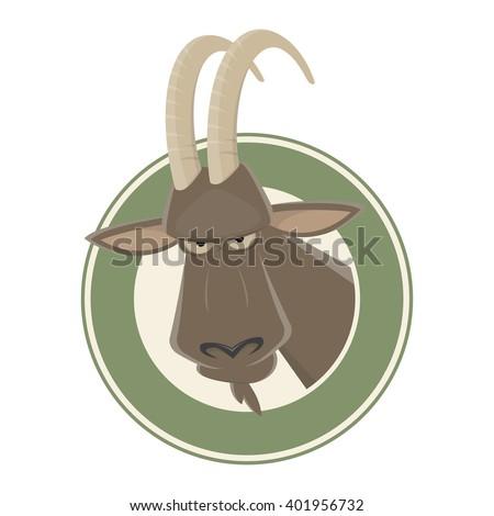 funny cartoon ibex - stock vector