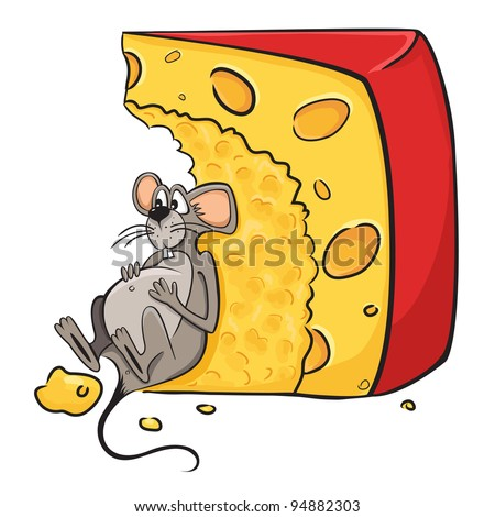 Funny cartoon illustration of mouse-guzzler lies next to the cheese.