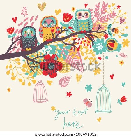 Funny cartoon illustration, trendy card with owls sitting on the brunches - stock vector