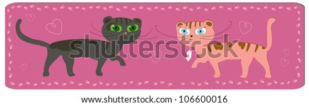 funny cartoon image of cats couple - stock vector
