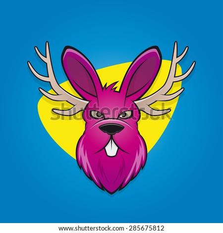 funny cartoon jackalope - stock vector