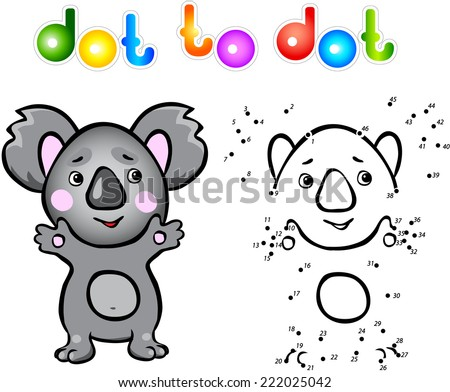 Funny cartoon koala dot to dot. Vector illustration for child