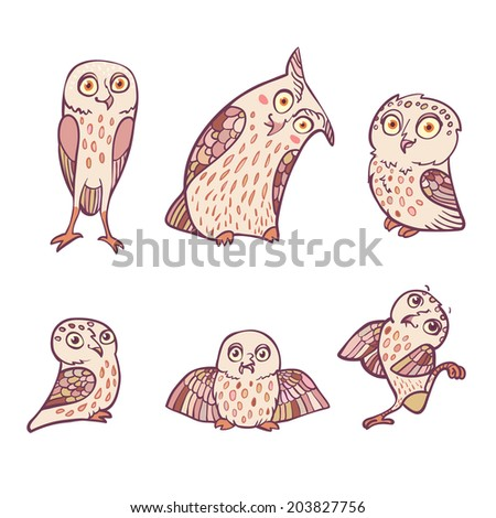 Funny cartoon little owls set. Character design. Vector illustration, EPS 10. Contains transparent objects - stock vector