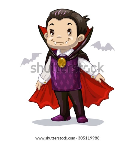 Funny Cartoon Little Vampire Boy Wearing Stock Vector ...