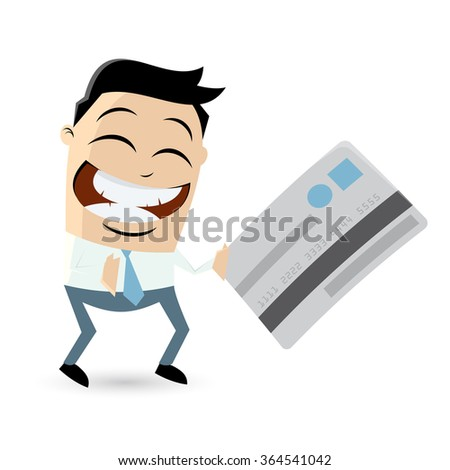 funny cartoon man with credit card - stock vector