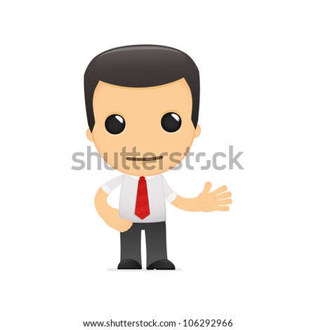 funny cartoon manager in various poses for use in advertising, presentations, brochures, blogs, documents and forms, etc.