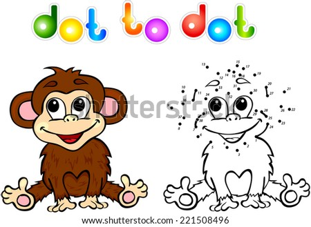 Funny cartoon monkey dot to dot. Vector illustration for child - stock vector