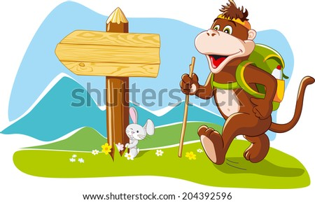 Funny cartoon monkey tourist hiking mountains, wooden signboard, copy space. Vector illustration - stock vector