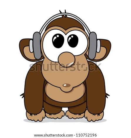 Funny cartoon monkey with headphones listening to music, vector illustration - stock vector