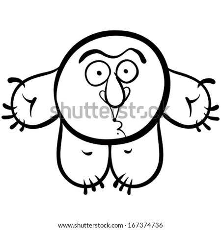 Funny cartoon monster, black and white lines vector illustration. - stock vector