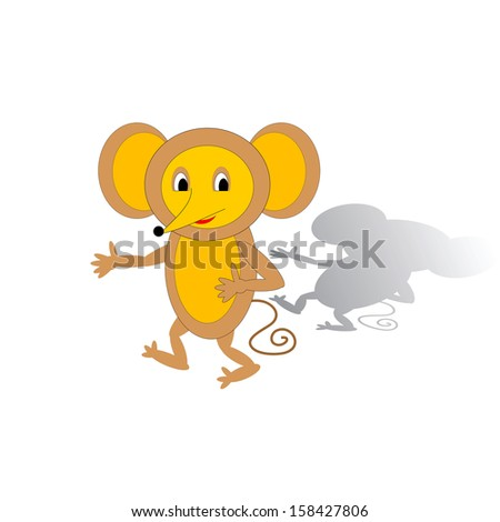 Funny cartoon mouse. Vector art
