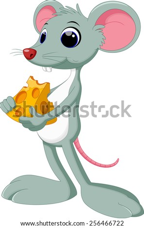 Funny cartoon mouse with piece of tasty cheese - stock vector
