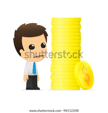 funny cartoon office worker in various poses for use in advertising, presentations, brochures, blogs, documents and forms, etc. - stock vector