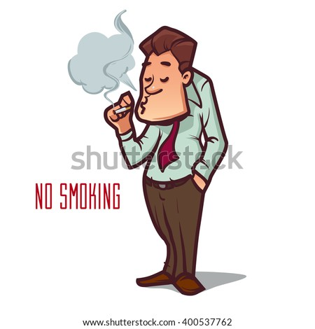 funny cartoon office worker smoking, no smoking, stop smoking, cartoon character, vector illustration - stock vector
