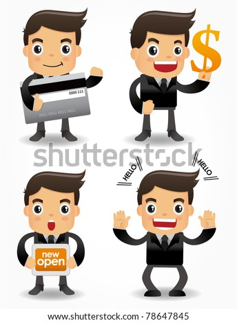funny cartoon office worker with sale Promotions icon set - stock vector
