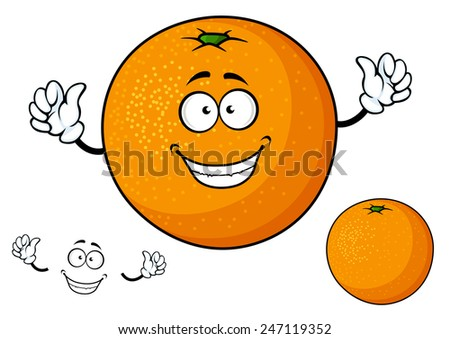 Funny cartoon orange fruit character and emotion elements separately for healthy nutrition and food design - stock vector