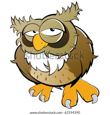 funny cartoon owl - stock vector