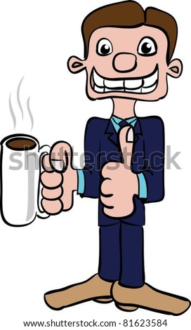 Funny cartoon picture of a smiling man in a suit with a cup of coffee in his right hand, left hand showing a thumb up - stock vector