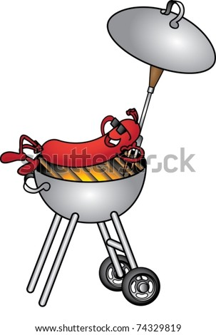 Funny cartoon picture with sausage on the barbecue - stock vector