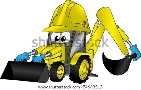 Funny cartoon picture with tractor or excavator in helmet - stock vector