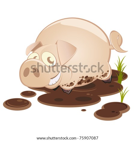 Cartoon Pig In Mud Puddle Funny cartoon pig in mud