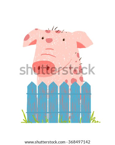Funny Cartoon Pig Sitting over Fence. Childish hand drawn cartoon of a little pig on farm. Vector illustration. - stock vector