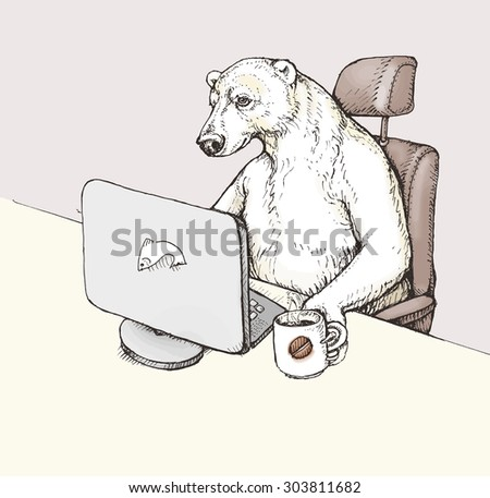 Funny cartoon: polar bear sitting on the writing desk in office