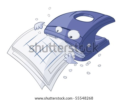 Funny cartoon puncher is eating the papers - stock vector